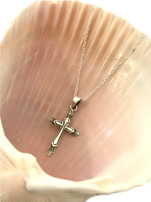 Detailed Cross Necklace | Sterling Silver Chain Pendant | Light Years