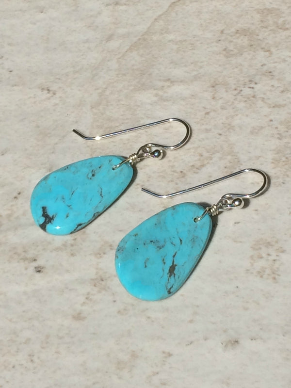 Turquoise Slab Earrings | Genuine Navajo Handmade Dangles | Light Years