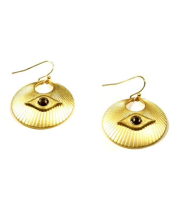 Gold Plated Magic Eye Dangles, $34 | Light Years Jewelry