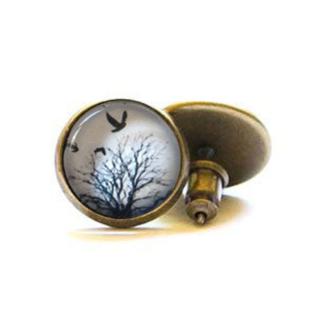 Beijo Brasil Birds in Flight Glass Dome Posts, $14 | Light Years Jewelry