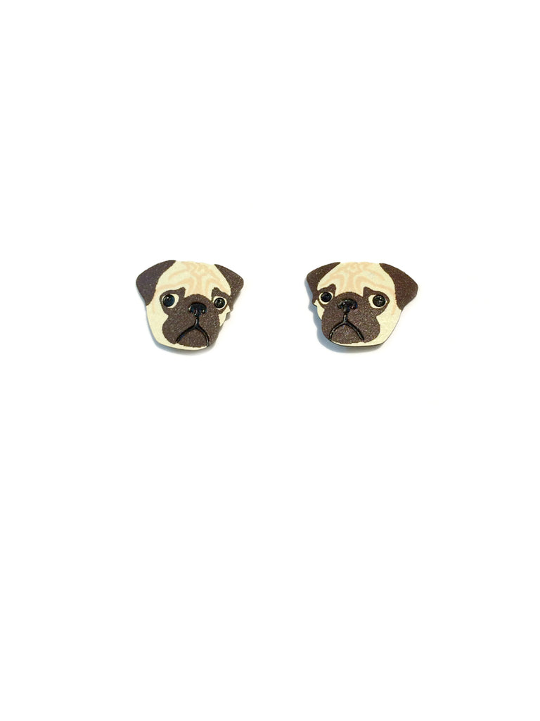 Pet Face Posts | Pug Dog Tabby Cat | Steel Stud Earrings | Light Years