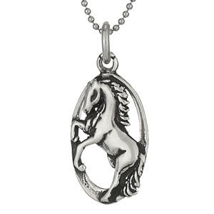 Dancing Horse Pendant and Chain