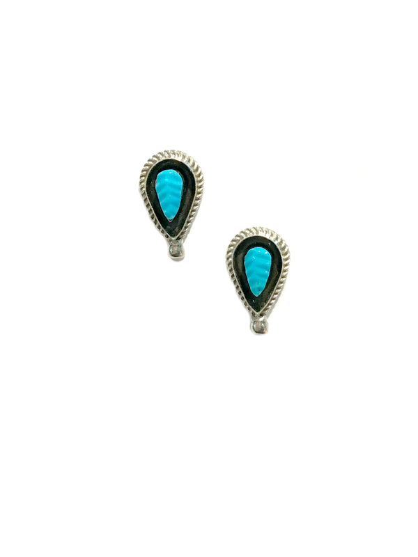 Zuni Carved Turquoise Leaf Posts | Sterling Silver Earrings | Light Years