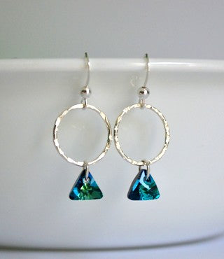 Bermuda Blue Crystal Dangles | Sterling Silver Earrings | Light Years