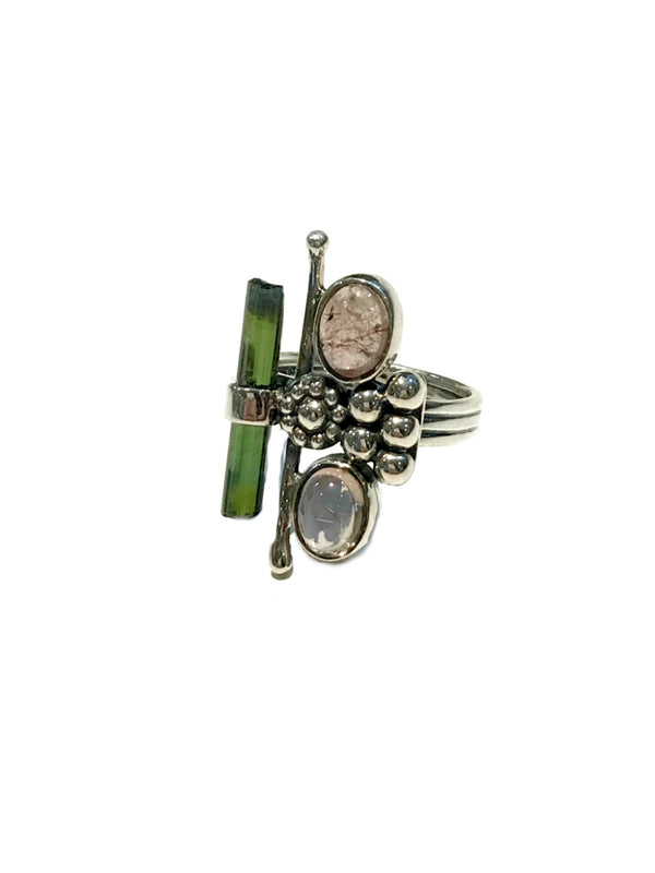 Asymmetrical Tourmaline Ring | Sterling Silver Size 7 8 9 | Light Years