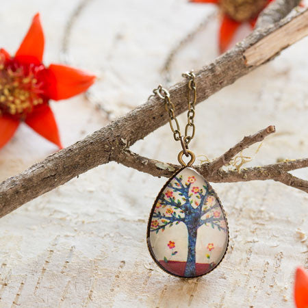 Beijo Brasil Tree of Love Glass Pendant Necklace, $16 | Light Years Jewelry