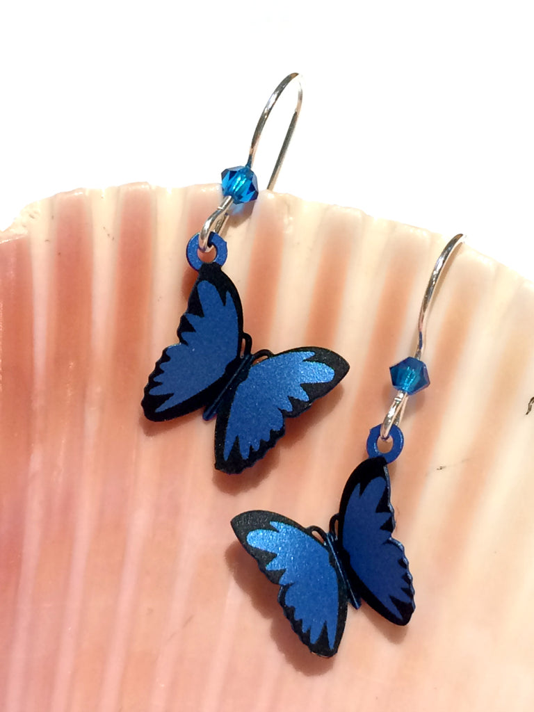 Blue Butterfly Dangles | Sterling Silver Earrings | Light Years Jewelry