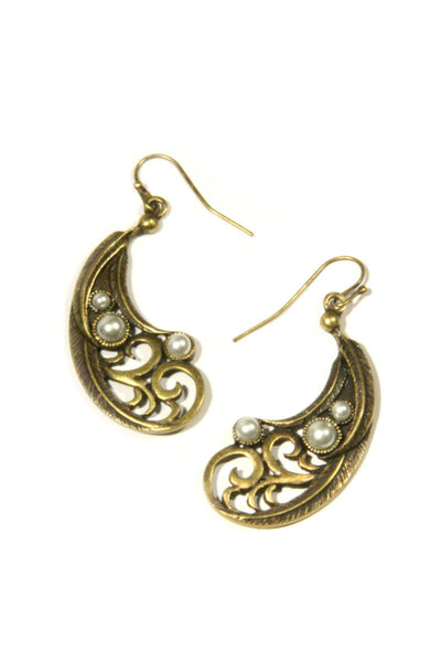 Pearl & Feather Dangles, $21.50 | Brass Earrings | Light Years Jewelry