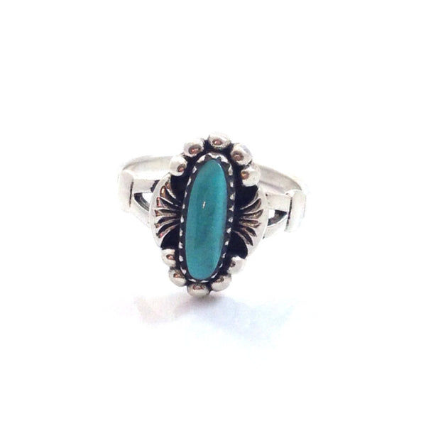 Oval Turquoise Stone Ring | Sterling Silver 4 5 6 7 8 9 | Light Years
