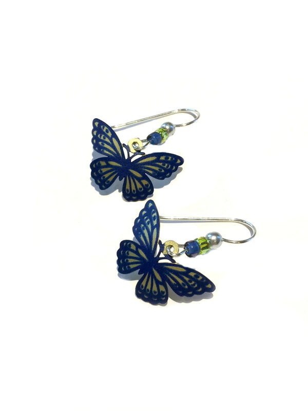 Green & Blue Butterfly Earrings by Sienna Sky