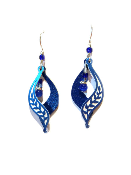 Blue Leaf Motif Dangles by Adajio | Sterling Silver | Light Years