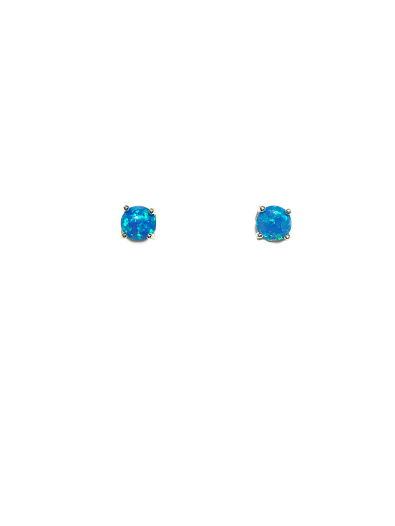 Prong Set Blue Opal Posts | Sterling Silver Studs Earrings | Light Years