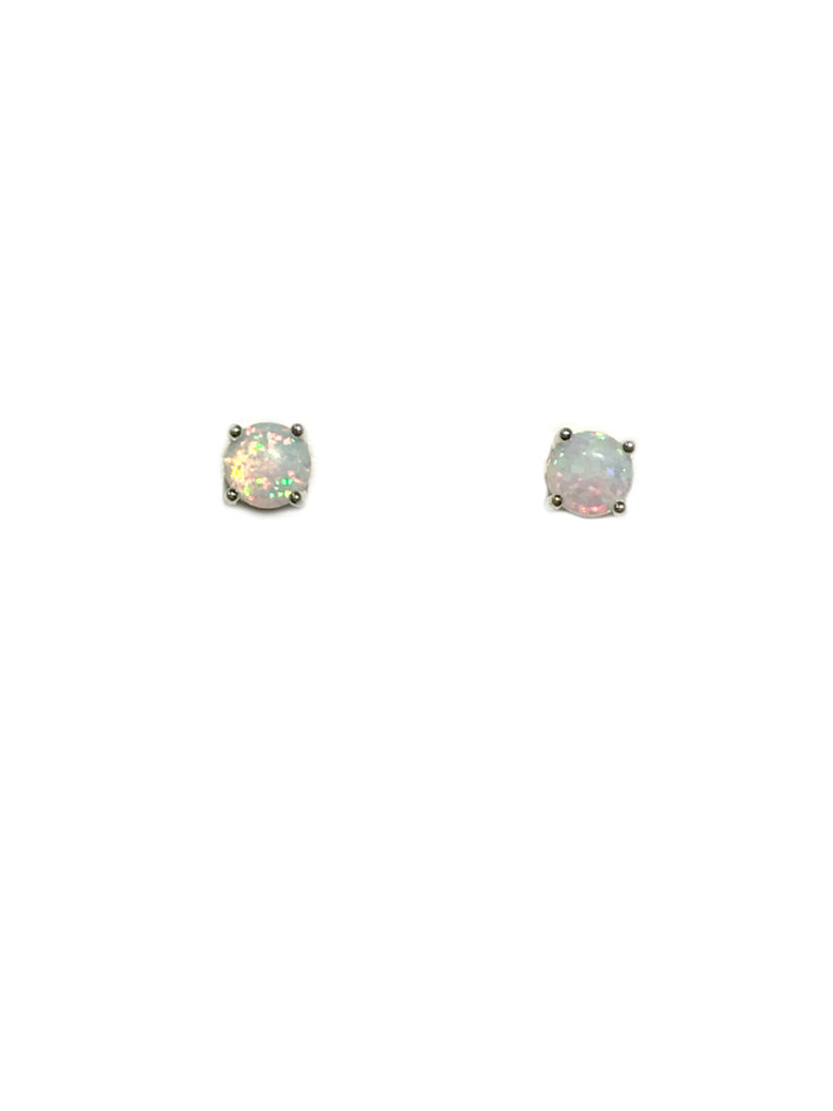 Prong Set White Opal Posts | Sterling Silver Studs Earrings | Light Years