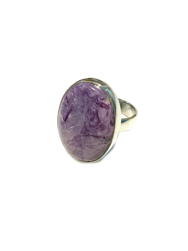 Charoite Ring | Purple Gemstone Sterling Silver Size 7 8 | Light Years