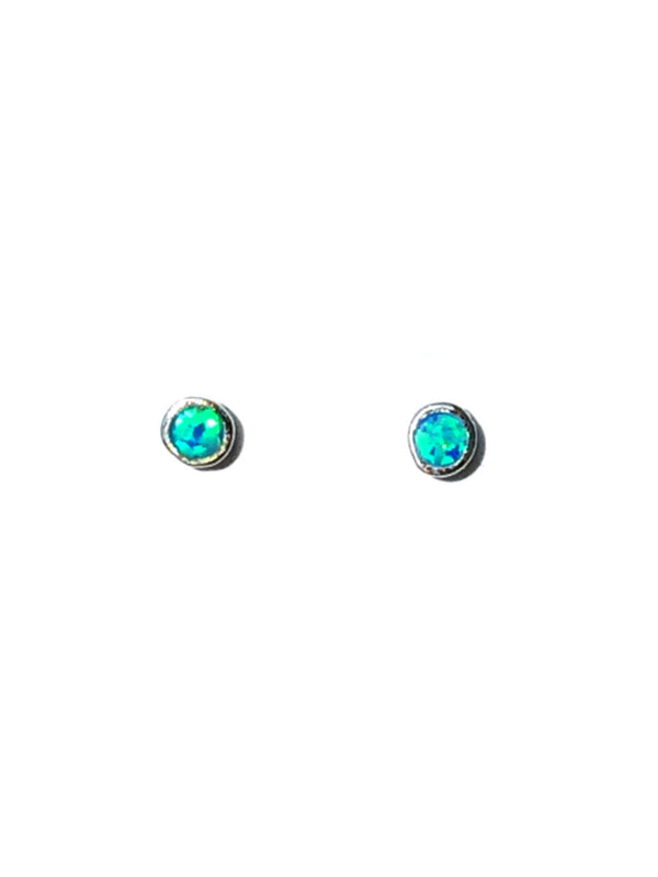Opal or Turquoise Stone Post Earrings