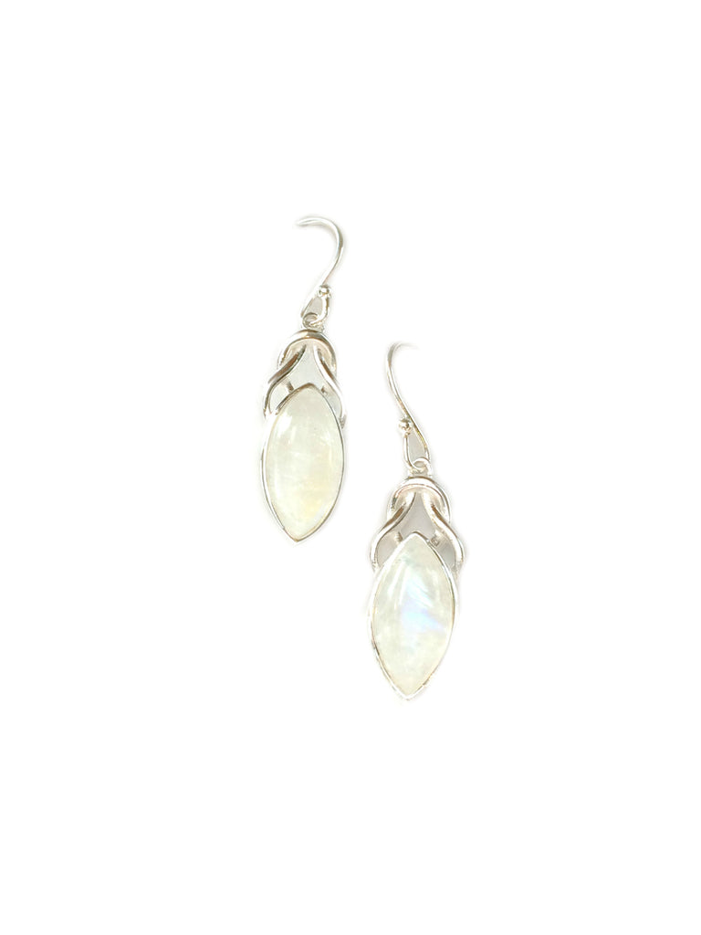 Knotted Gemstone Dangles | Moonstone | Sterling Silver Earrings | Light Years Jewelry