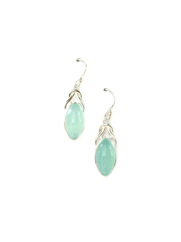 Knotted Gemstone Dangles | Aqua Chalcedony | Sterling Silver Earrings | Light Years Jewelry
