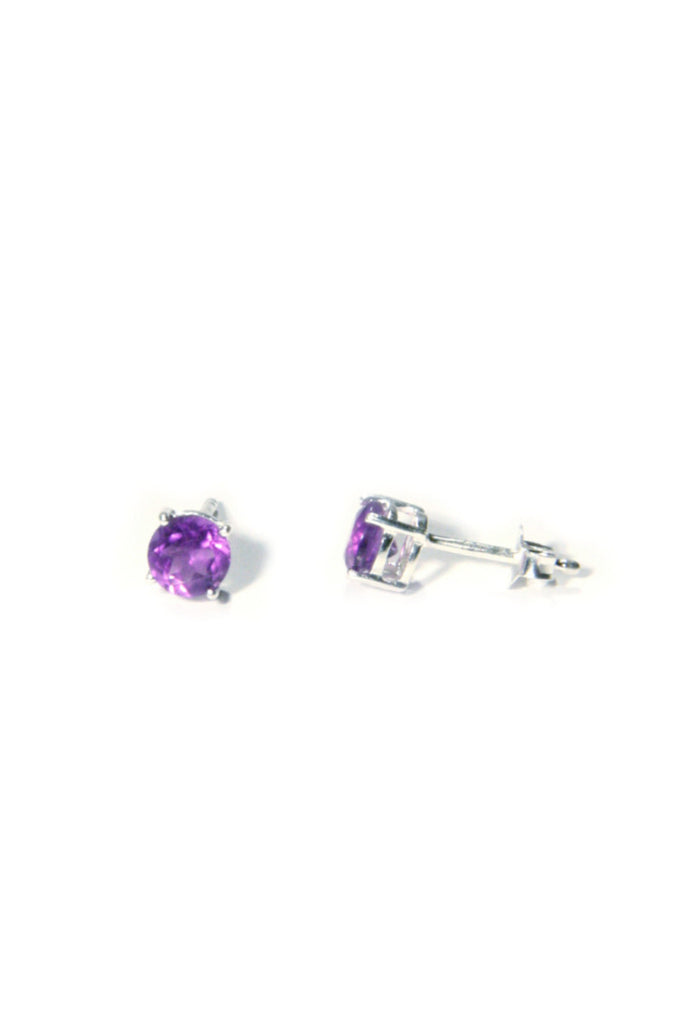 Genuine Stone Posts | Amethyst | Sterling Silver Gemstone Earrings | Light Years