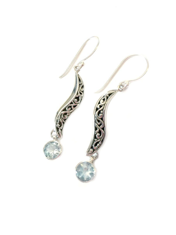 Sleek Swirl Dangles | Sterling Silver Pearl Earrings | Light Years