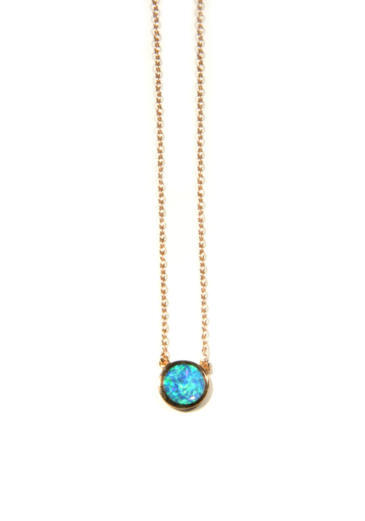 Opal Disc Necklace | Sterling Silver Gold Vermeil | Light Years Jewelry