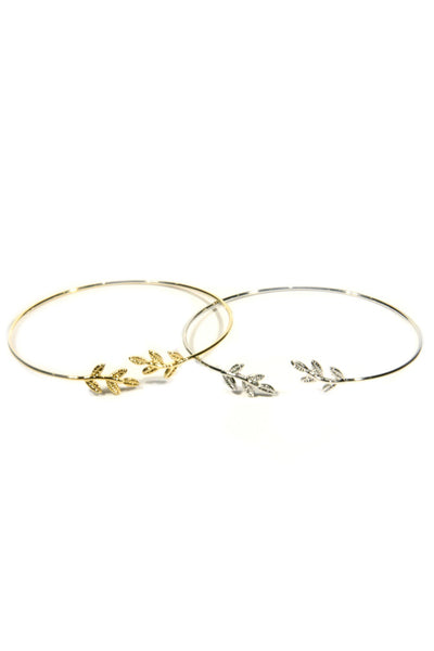 Delicate Leaf Cuff, $8 | Gold or Silver Bracelet | Light Years Jewelry