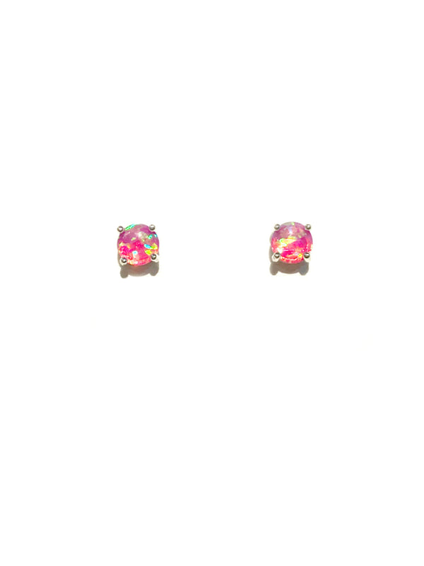 Prong Set Pink Opal Posts | Sterling Silver Studs Earrings | Light Years