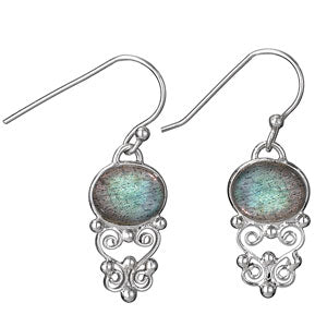 Labradorite Swirls Earrings, $26 | Sterling Silver Dangle | Light Years