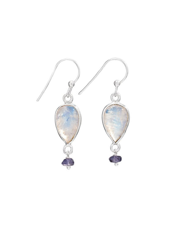 Moonstone & Iolite Dangles | Sterling Silver Earrings | Light Years