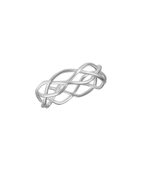 Woven Braid Band | Sterling Silver Rings Size 3 4 5 6 7 8 9 | Light Years