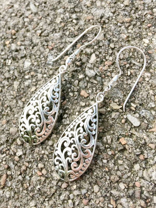 Silver Swirl Statement Earrings | Sterling Silver Bali | Light Years