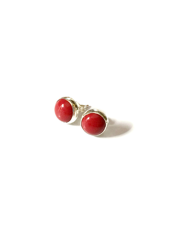 Round Stone Posts | Sterling Silver Studs Coral Turquoise | Light Years
