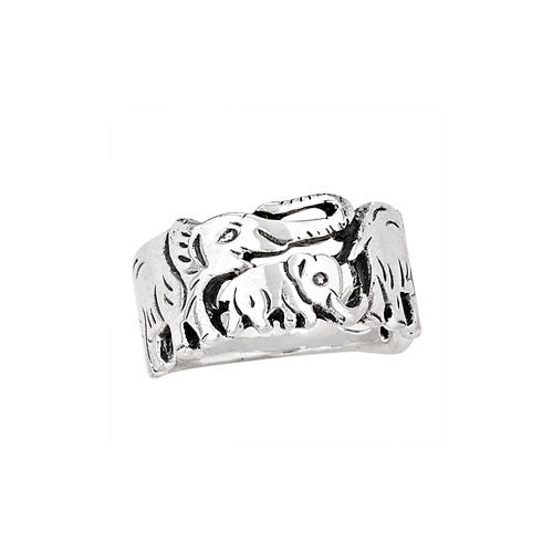 Sterling Silver Elephant Family Ring | Sizes 6 7 8 9 | Light Years