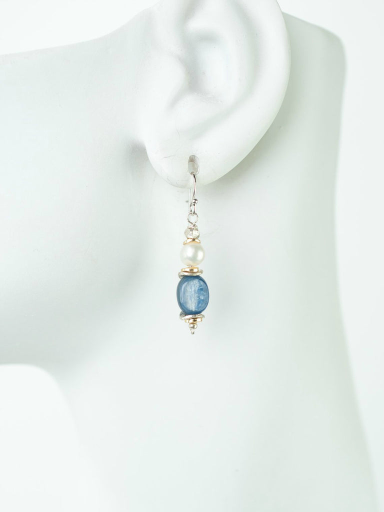 Pearl Kyanite Dangle Earrings | Handmade Sterling Silver | Light Years