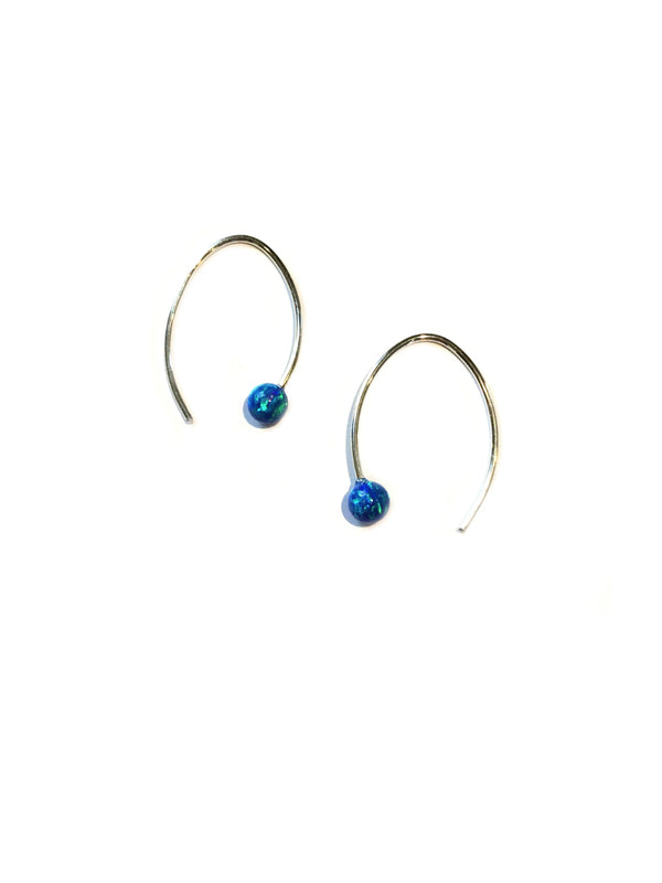Modern Blue Opal Earrings | Sterling Silver | Light Years Jewelry