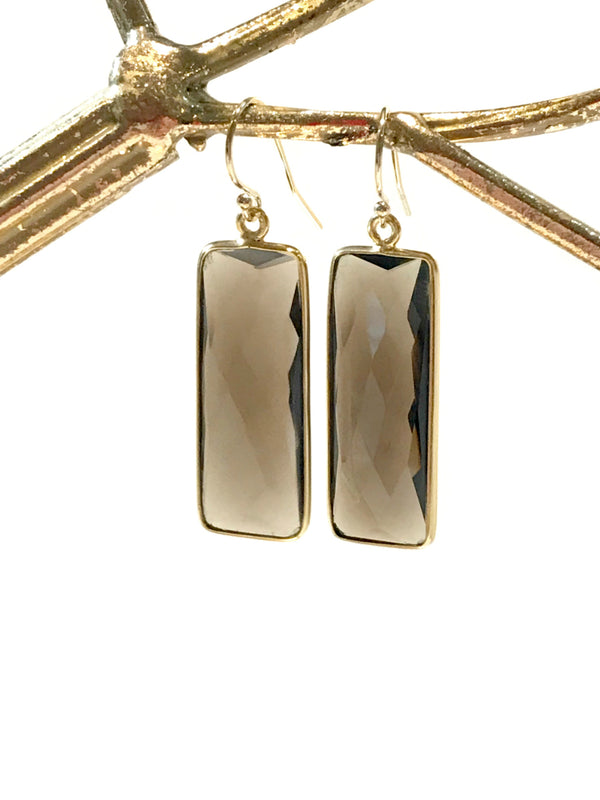Faceted Gemstone Rectangle Dangles | Gold Filled Earrings | Light Years