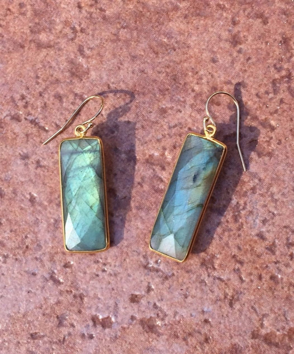 Faceted Gemstone Rectangle Dangles, $46 | Gold Filled | Light Years