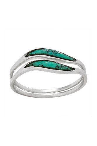 2-pc Turquoise Wave Ring, $16 | Sterling Silver | Light Years Jewelry