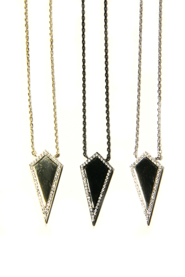 CZ Bordered Kite Necklace, $24 | Gold, Silver, Black | Light Years