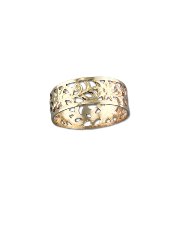 Gold Filled Floral Cutout Band Ring | Size 6 7 8 9 | Light Years Jewelry