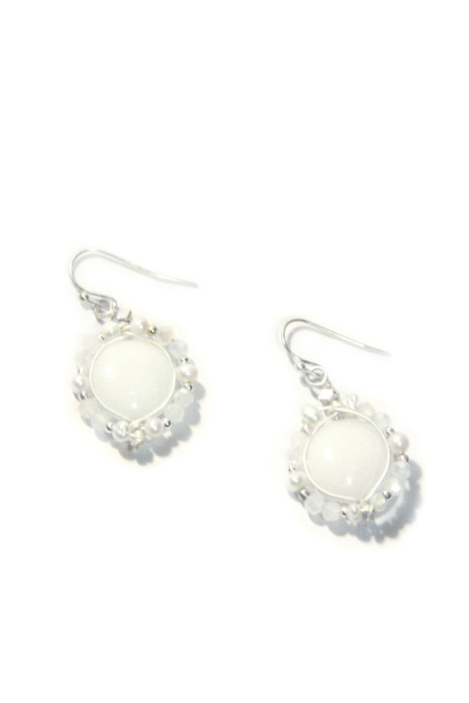 Beaded White Dangles, $20 | Handcrafted | Light Years Jewelry