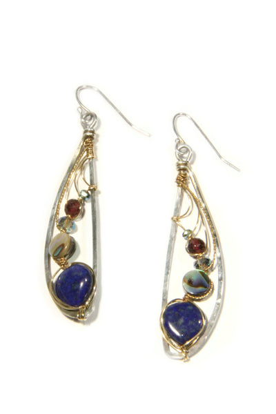 Wrapped Lapis & Abalone Dangles, $66 | Sterling Silver | Light Years