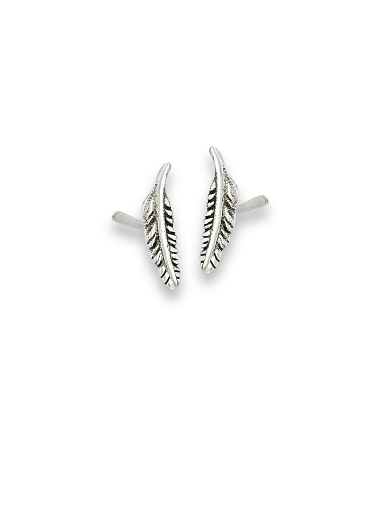 Detailed Feather Posts | Sterling Silver Studs Earrings | Light Years