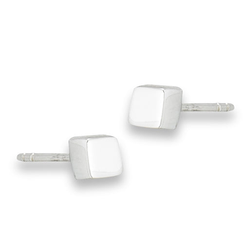 Polished Cube Stud Earrings, $10 | Sterling Silver Posts | Light Years