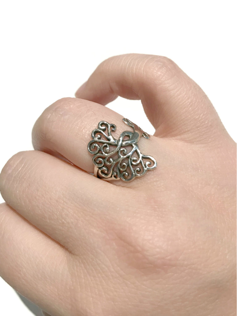 Sideways Tree Ring | Sterling Silver Size 6 7 8 9 | Light Years Jewelry