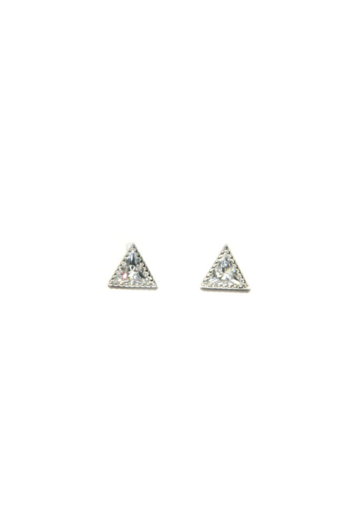 CZ Triangle Posts, $14 | Sterling Silver Studs | Light Years Jewelry