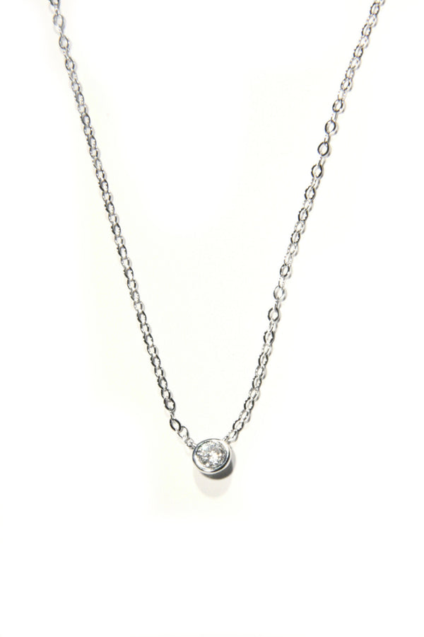 Single CZ Necklace | Sterling Silver or Gold | Light Years Jewelry