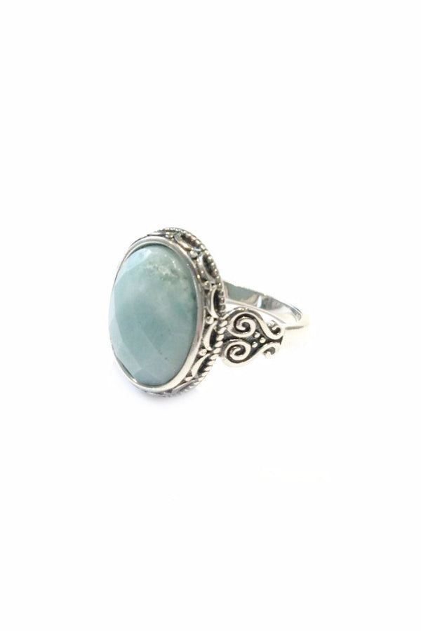 Faceted Amazonite Ring | Sterling Silver Size 6 7 8 9 | Light Years