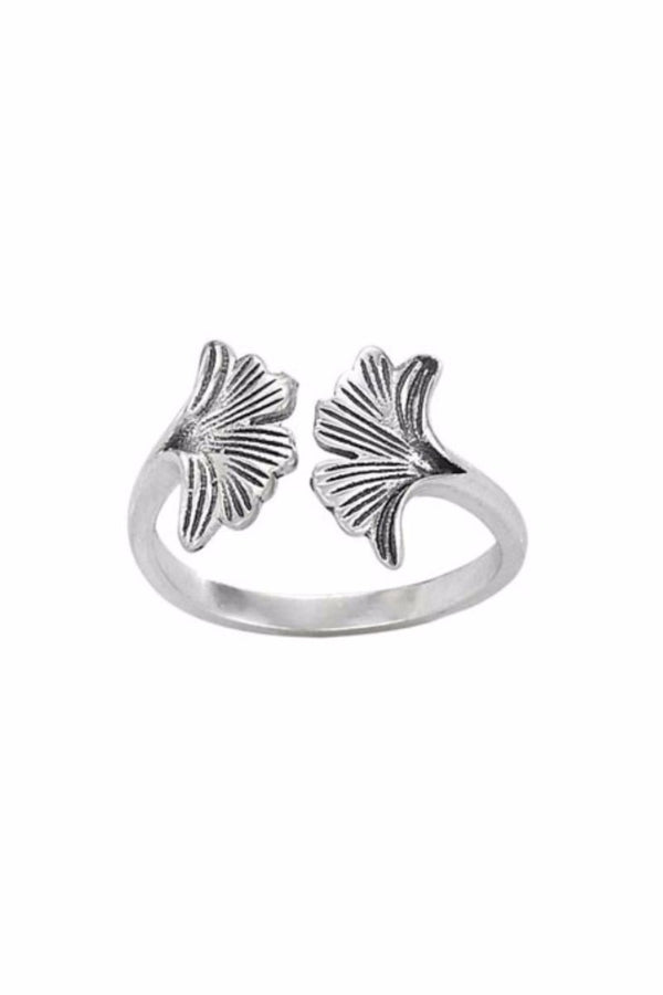Ginkgo Leaf Ring | Sterling Silver Size 6 7 8 9 | Light Years Jewelry