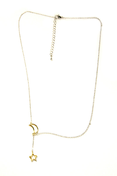Moon & Star Lariat Necklace