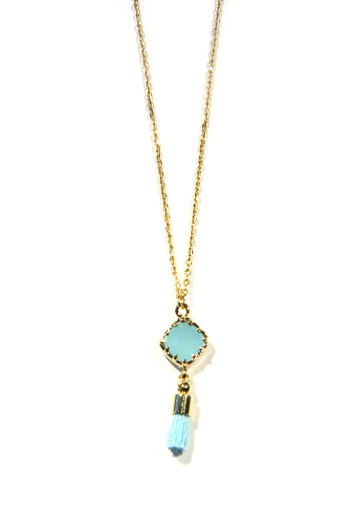 Stone and Tassel Pendant Necklace | Blue or Pink | Light Years Jewelry